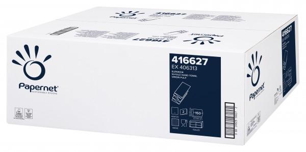 Papernet Handtuchpapier SUPERIOR Weiß Interfold, 22 x 32 cm, 2-lagig Zellstoff, W-Falz