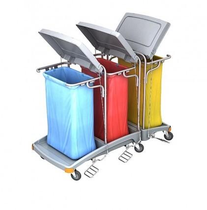 """Hochwertiger Abfallsammler von """"SPLAST"""" mit Müllsackhalterung für 3 x 120 l - Müllsack mit Deckel un"""