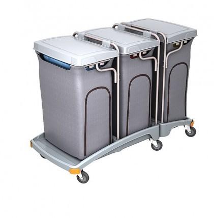 """Hochwertiger Abfallsammler von """"SPLAST"""" mit 3 Müllsackhalterungen für 120 l - Müllsäcke und drei Dec"""