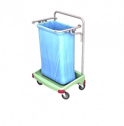 """Abfallsammelwagen von """"SPLAST"""" in antibakterieller Ausrüstung mit einem Halterahmen für 120 l - Abfa"""