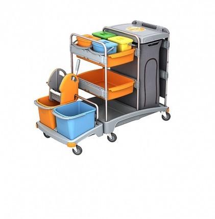 """Hochwertiger Systemwagen von """"SPLAST"""" mit zwei Eimern 20 l, orange und blau, Mopp-Presse, zwei Kunst"""