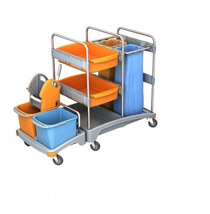 """Hochwertiger Systemwagen von """"SPLAST"""" mit zwei Eimern 20 l, orange und blau, zwei Kunststoffwannen,"""