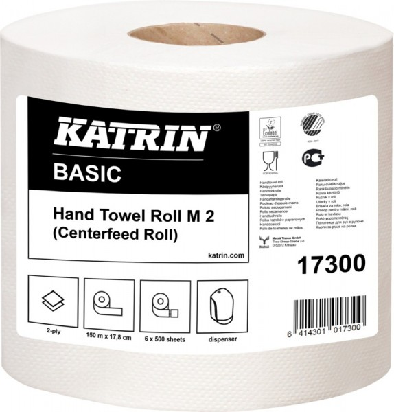 Katrin Classic One stop M 2, Handtuchpapier 20,6 x 25 cm, 2-lagig, weiß