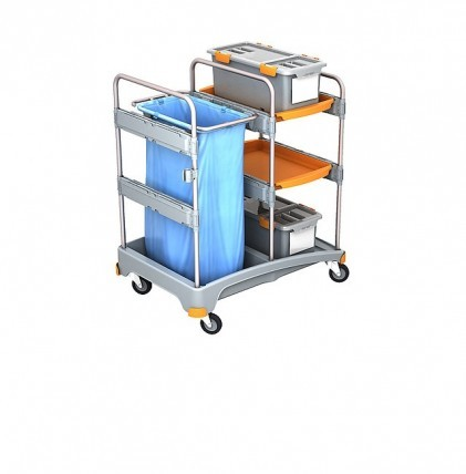 """Hochwertiger Systemwagen von """"SPLAST"""" mit zwei Kunststoffschalen, einem Müllsackhalter für 1 x 120 l"""