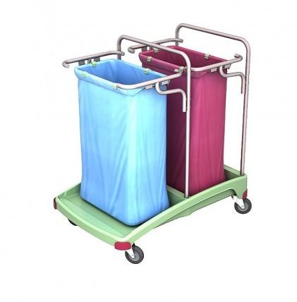 """Abfallsammelwagen von """"SPLAST"""" in antibakterieller Ausrüstung mit zwei Halterahmen für 120 l - Abfal"""