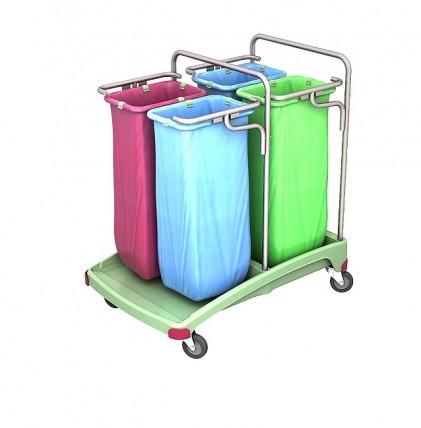 """Abfallsammelwagen von """"SPLAST"""" in antibakterieller Ausrüstung mit vier Halterahmen für 70 l - Abfall"""