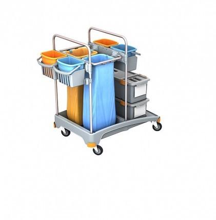 """Hochwertiger Systemwagen von """"SPLAST"""" mit einem Müllsackhalter für 2 x 70 l - Müllsäcke, zwei Mopp-B"""
