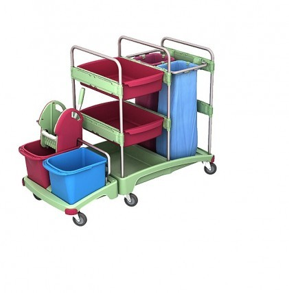 """Reinigungswagen von """"SPLAST"""" in antibakterieller Ausrüstung mit zwei Eimern, Mopp-Presse, Halterahme"""