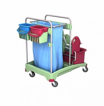 """Reinigungswagen von """"SPLAST"""" in antibakterieller Ausrüstung mit zwei Eimern 20 l, Mopp-Presse und Ha"""